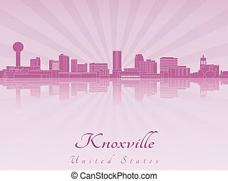 Knoxville skyline in purple radiant orchid in editable vector file