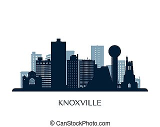 Knoxville skyline, monochrome silhouette.