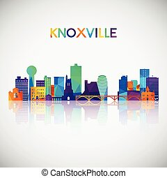 Knoxville skyline silhouette in colorful geometric style.