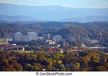 View of Knoxville skyline and the Great Smoky Mountains.