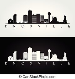 Knoxville, USA skyline and landmarks silhouette