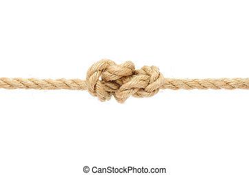 knyta, rep, bakgrund, jute, vit