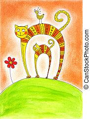 kočka, a, kotě, dítě čerpat, akvarel, dále, noviny