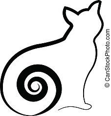 kočka, s, swirly, chvost, emblém