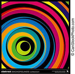 koła, abstrakcyjny, barwny, tło, vector.