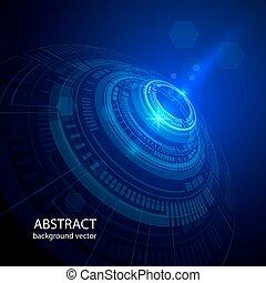 koła, błękitny, abstrakcyjny, tło., wektor, technologia
