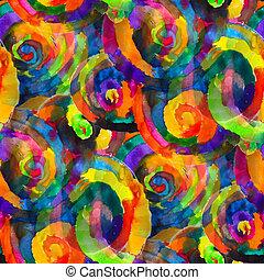 koła, barwny, struktura, akwarela, kaprys, sen