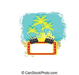 koła, dłoń, deska, grunge, drzewa, dekoracyjny, tło, film, kołatka