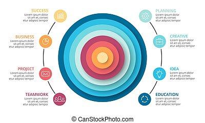 koła, diagram, piramida, processes., handlowy, infographic, abstrakcyjny, wykres, chart., strony, pojęcie, wektor, 8, kroki, prezentacja, opcje, cykl
