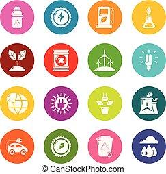 koła, ekologia, komplet, barwny, ikony, wektor