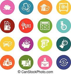 koła, komplet, barwny, ikony, kredyt, wektor