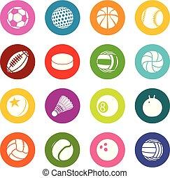 koła, komplet, barwny, ikony, piłki, wektor, sport