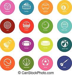 koła, komplet, barwny, ikony, piłki, wyposażenie, wektor, sport