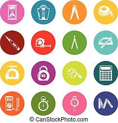 koła, komplet, barwny, ikony, precyzja, wektor, miara