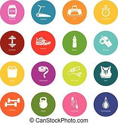 koła, komplet, barwny, ikony, sala gimnastyczna, wektor, sport