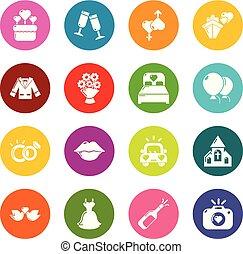 koła, komplet, barwny, ikony, wektor, ślub