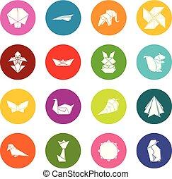 koła, komplet, barwny, ikony, wektor, origami