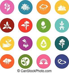 koła, komplet, barwny, natura, ikony, wektor