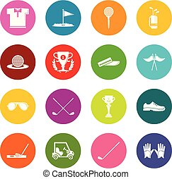 koła, komplet, golf, barwny, ikony, wektor