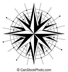 koła, kropkuje, styl, gwiazda, prosty, róża, okoliczny, czarnoskóry, kierunki, monochromia, biały, geometryczny, wiatr, ikona