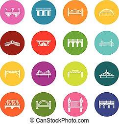 koła, most, komplet, barwny, ikony, wektor