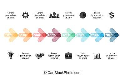 koła, pojęcie, processes., handlowy, infographic, timeline, opcje, strzały, wektor, diagram, strony, wykres, presentation., wykres, 8, kroki, postęp