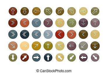 koła, różny, komplet, barwny, strzały, konfiguracje