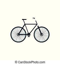 koła, rower, rysunek, odizolowany, płaski, ułożyć, rower, ikona