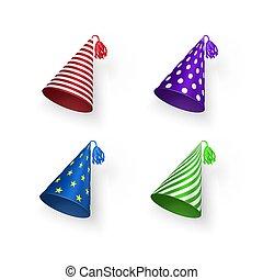 koła, urodziny, barwny, wzory, set., pasy, ilustracja, odizolowany, stars., kapelusze, wektor, tło, biały kapelusz, geometryczny