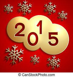 koła, złoty, Abstrakcyjny, Wektor, rok,  2015, nowy, czerwony