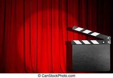 kołatka, film, deska, kurtyna, opróżniać, czerwony
