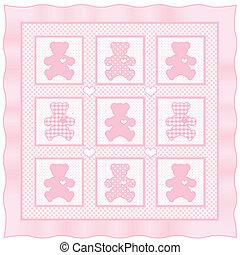 kołdra, pastel, różowy, niemowlę, miś