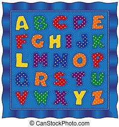 kołdra, patchwork, beletrystyka, kropka, niemowlę, alfabet, polka
