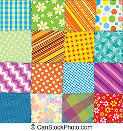 kołdra, patchwork, texture., seamless, wektor, próbka