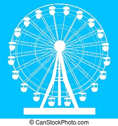 koło, błękitny, sylwetka, barwny, atraktsion, ilustracja, ferris, tło