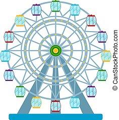 koło, barwny, ilustracja, ferris, wektor, białe tło