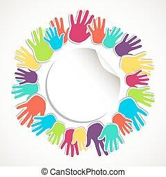 koło, barwny, ludzka ręka