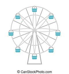 koło, biały, ikona, tło, ferris