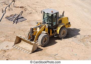 koło, buldożer, umieszczenie zbudowania, ładowacz