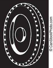 koło, czarnoskóry, sylwetka, tło