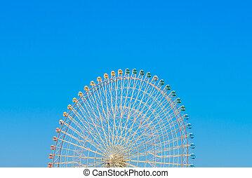 koło, ferris, błękitne niebo