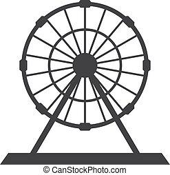 koło, ferris, ilustracja, tło., wektor, czarnoskóry, biały, ikona
