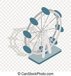 koło, ferris, isometric, ikona