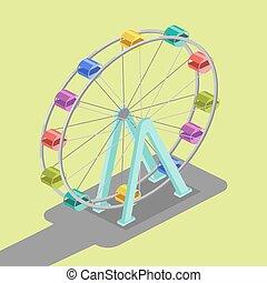 koło, ferris, isometric, wektor, ilustracja