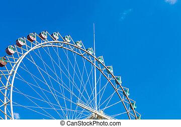 koło, ferris, na, błękitne niebo