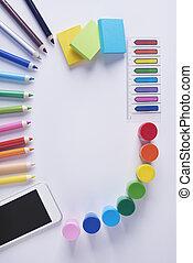 koło, formułować, barwny, przybory