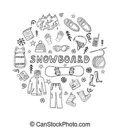 koło, formułować, komplet, snowboard, ikony