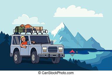 koło, górskie daszki, obozowanie, płaski, wóz, od-drogi, bagaż, dach, krajobraz., lake., suv, za, wektor, facet, horizontal., pojazd, uśmiechanie się, style., illustration.