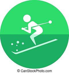 koło, ikona, -, narciarstwo