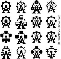 koło, ikony, park, zbiór, ferris, wektor